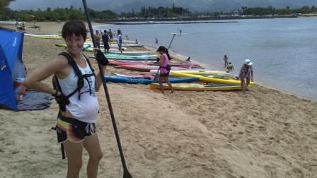Rainbow Watersports owner Heidi finishing 7 mile race at 5 months pregnant 7-4-11
