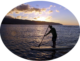 Paddling at sunset photo
