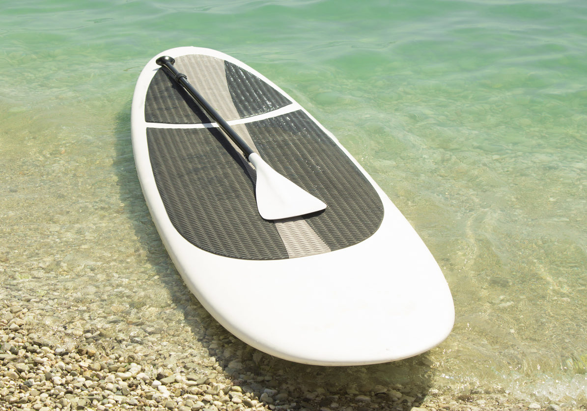 Paddle board and paddle on the coastline.